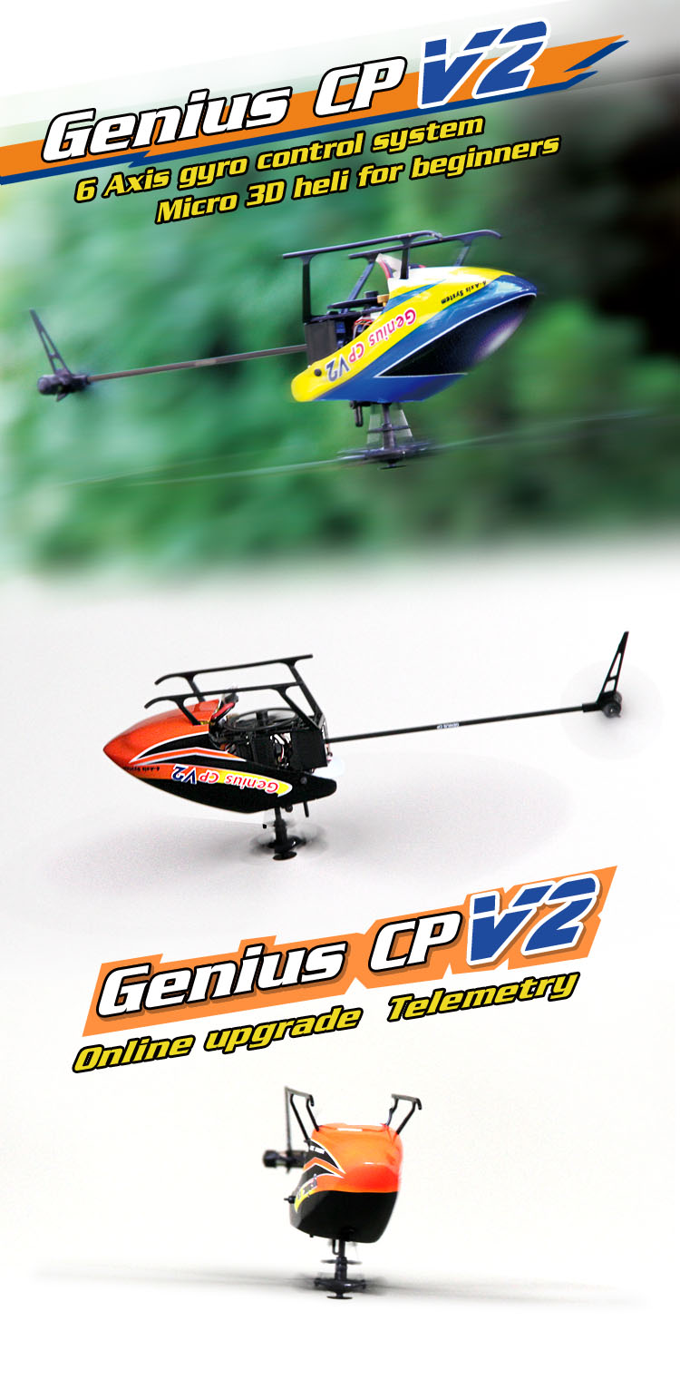 Walkera Genuis CP V2 - 6-Axis Gyro Control Micro 3D Heli for Beginners, Devo 7 - RTF
