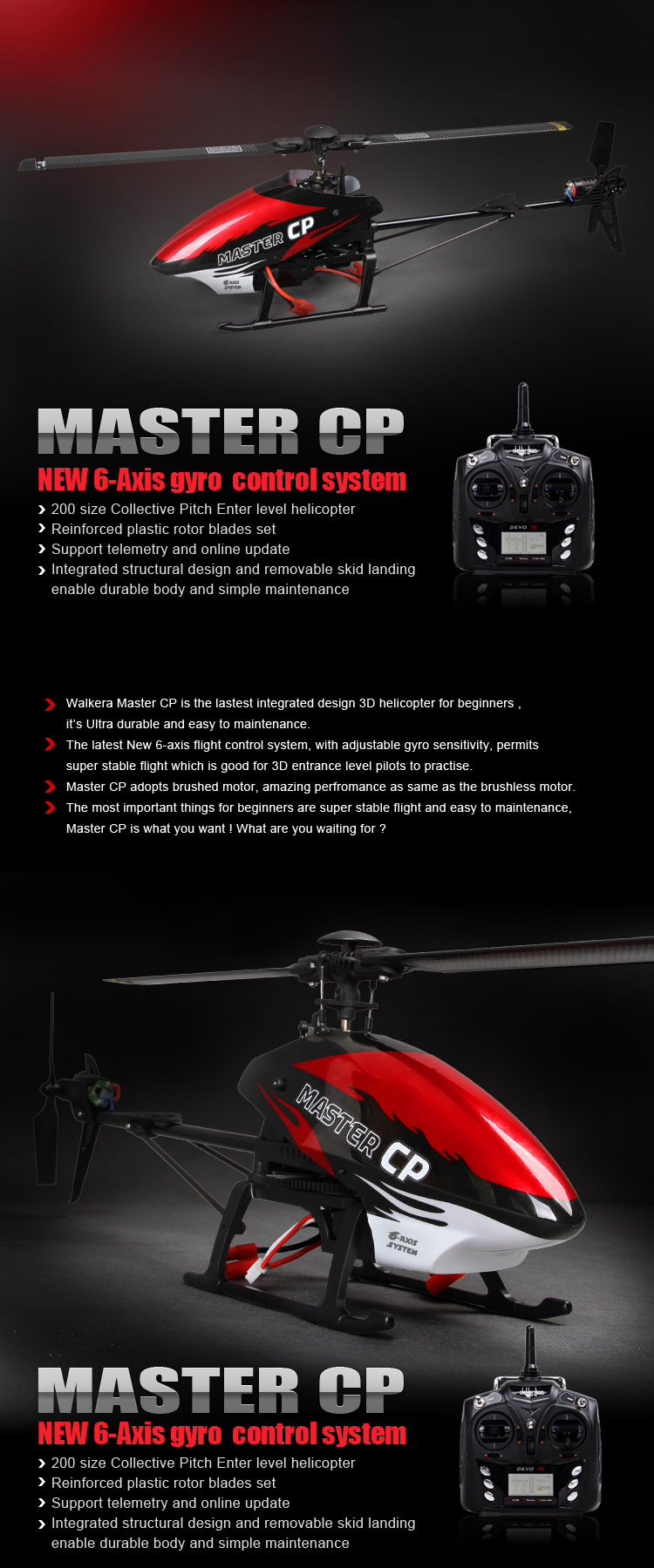 Walkera Master CP -  New 6-Axis Gyro 200 Size Collective Pitch Entery Level Helicopter Devo 7 RTF