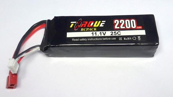 Torque 3-2200-25C - LiPo Battery 11.1V 2200mAh 25C T-Plug (450 Heli)