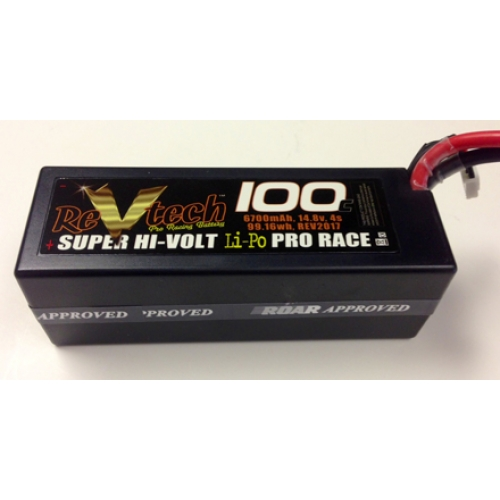 ReVtech 2017 - 100C 14.8V 4S 6700mAh Professional RC Racing Lipo Battery Packs, Deans Plug