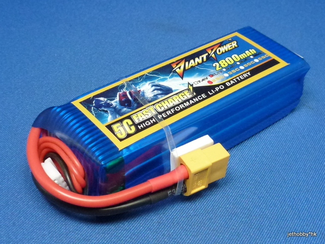Giant Power 2800-3S-25C-XT60 - 11.1V 2800mAh 25C Lipo Battery XT60 Plug (DJI Phantom)