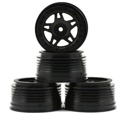 Hong Nor SC11BK - Short Course Wheels, Black (SCTE10, NEXX10)