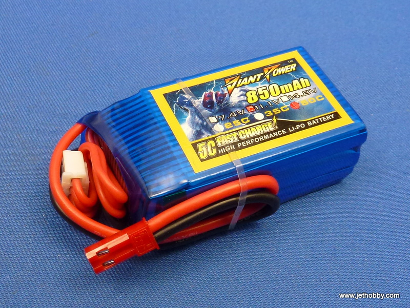 Giant Power 850-3S-65C -JST - Lipo Battery 850mAh 11.1V  65C JST Plug