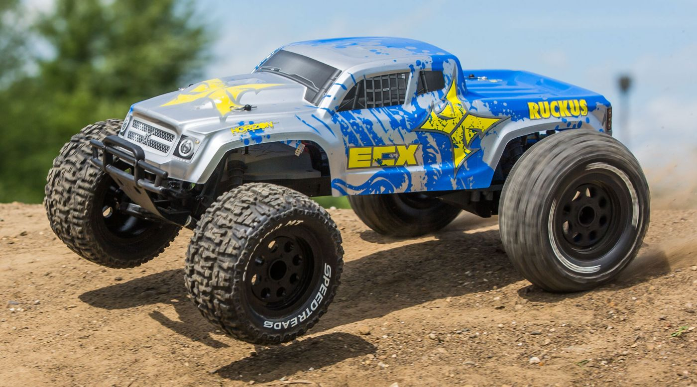 ECX 03331T1 - 1/10 Ruckus 2WD Monster Truck, Brushed, LiPo RTR: Silver/Blue