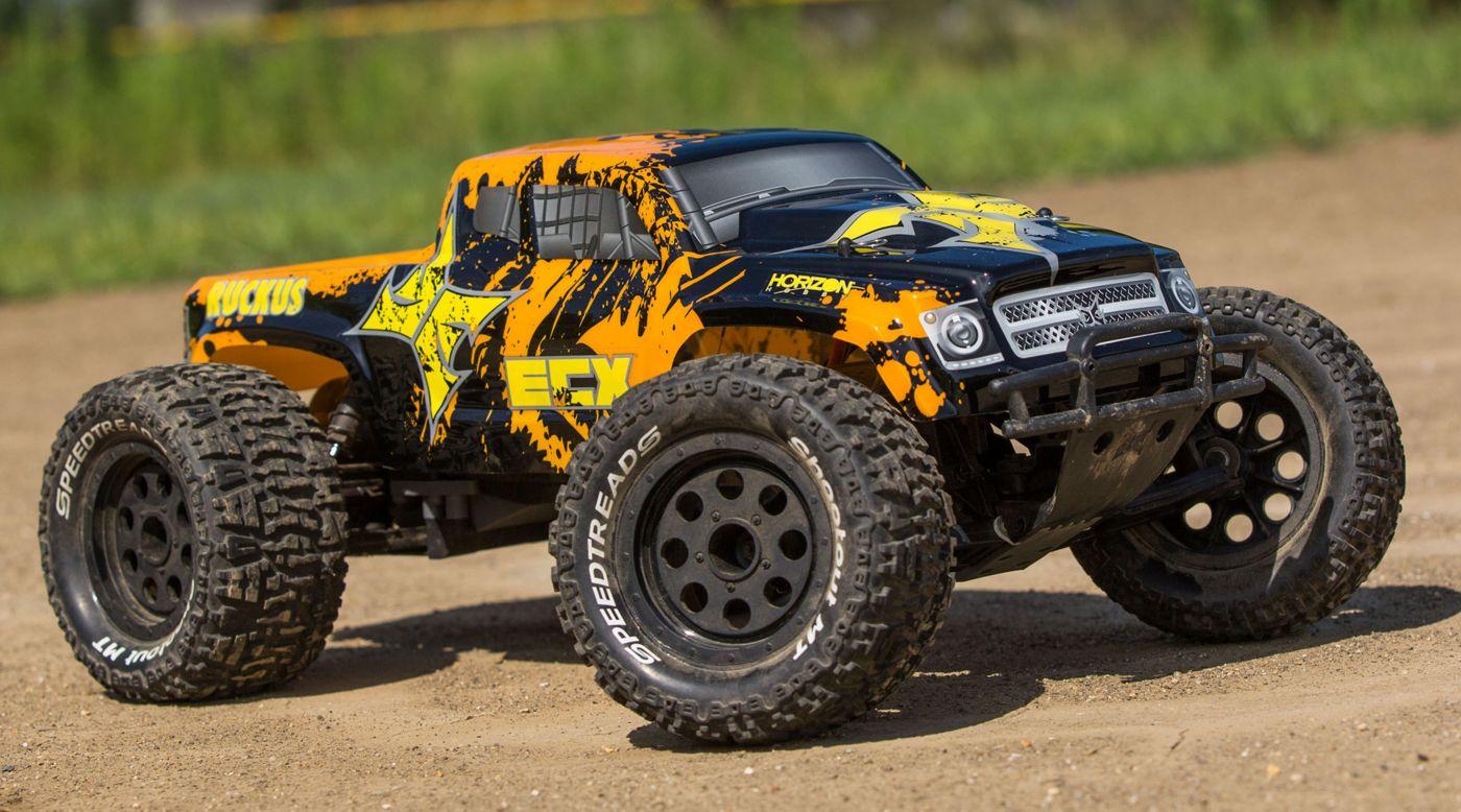 ECX 03331T2 - 1/10 Ruckus 2WD Monster Truck, Brushed, LiPo RTR: Black/Orange