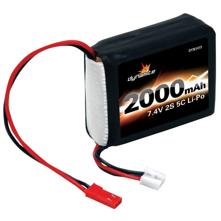 Dynamite DYN1419 - 7.4V 2000mAh 2S 5C LiPo Receiver Pack: 1/8 Vehicles