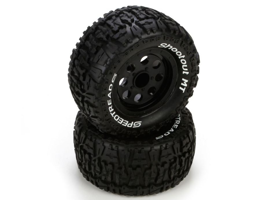 ECX 43008 - Front/Rear Wheel & Tire, Premount, Black (1/10 2WD/4WD Ruckus)