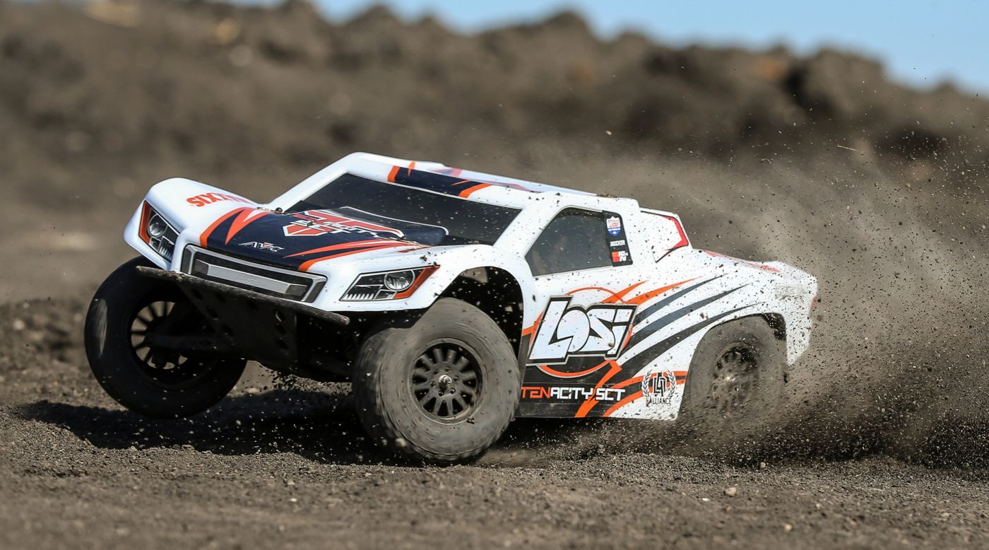 Losi LOS03010T2 - 1/10 TENACITY SCT 4WD RTR with AVC White/Orange