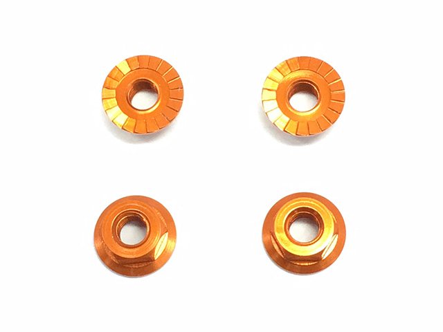 Square SXG-14SOR - M4 Alum Serrated Nut, Orange