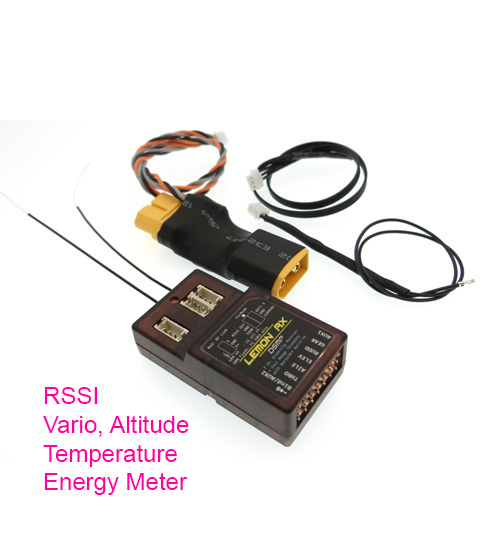 Lemon LM0052(XT60) - Lemon Rx DSMP (DSMX Compatible) 7-Channel Full-Range Telemetry With Diversity Receiver (Vario + Energy Meter + Altitude) XT60 Package