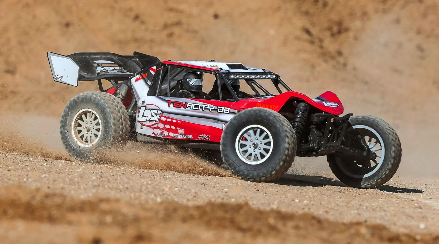 Losi LOS03014T1 - 1/10 TENACITY-DB 4WD Desert Buggy RTR with AVC, Red/Grey