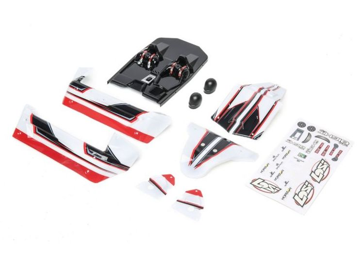 Losi LOS210011 - Body Set White/Red (Mini 8IGHT-DB)