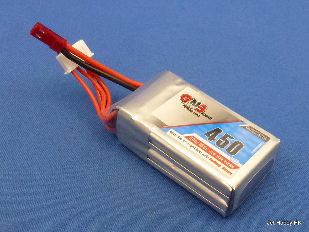 GNB 450-4S-80C-JST - 450mAh 14.8V 80C Lipo Battery JST Plug