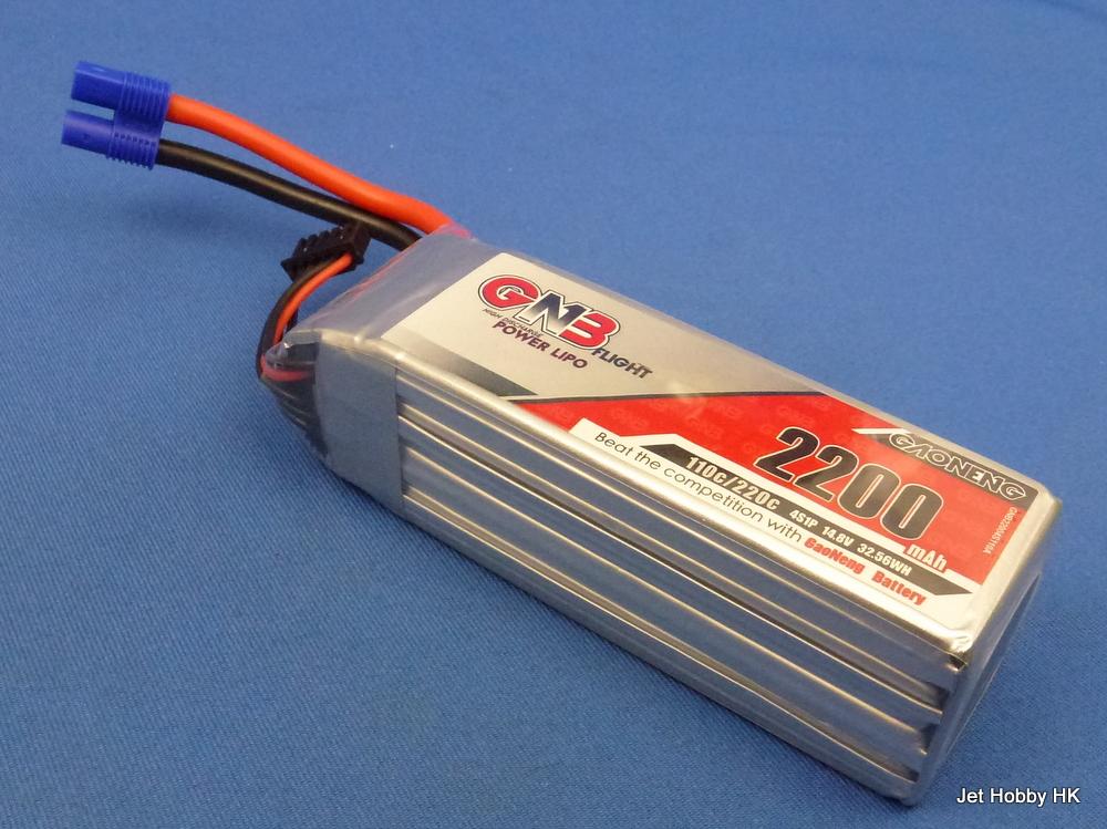 GNB 2200-4S-110C-EC3 - 1300mAh 14.8V LiPo Battery EC3 Plug