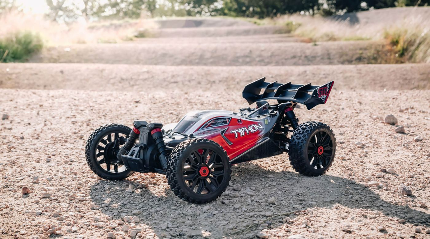 Arrma 102722 - 1/8 TYPHON 3S BLX 4WD Brushless Buggy with Spektrum RTR, Red