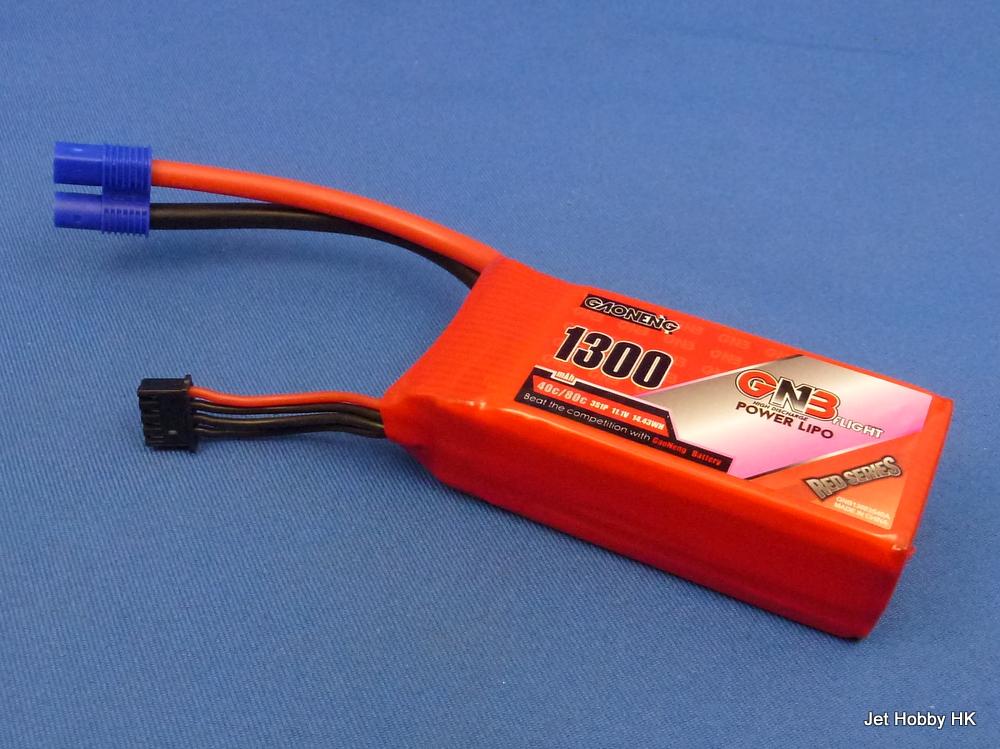 GNB 1300-3S-40/80C-EC3 - 1300mAh LiPo Battery 11.1V EC3 Plug (Recoil 17)
