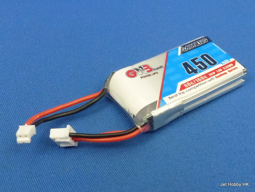 GNB 450-2S-80C/160C-PH2.0 - 450mAh LiPo Battery 7.4V Soft Pack PH2.0 Plug (Axial SCX24)