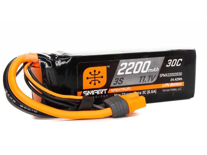 Spektrum SPMX22003S30 - 11.1V 2200mAh 3S 30C Smart LiPo Battery: IC3