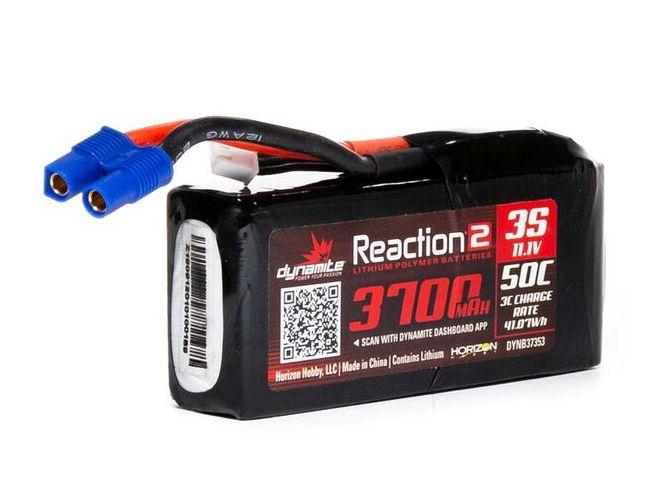 Dynamite DYNB37353 - 11.1V 3700mAh 3S 50C Reaction 2 LiPo Battery: EC3
