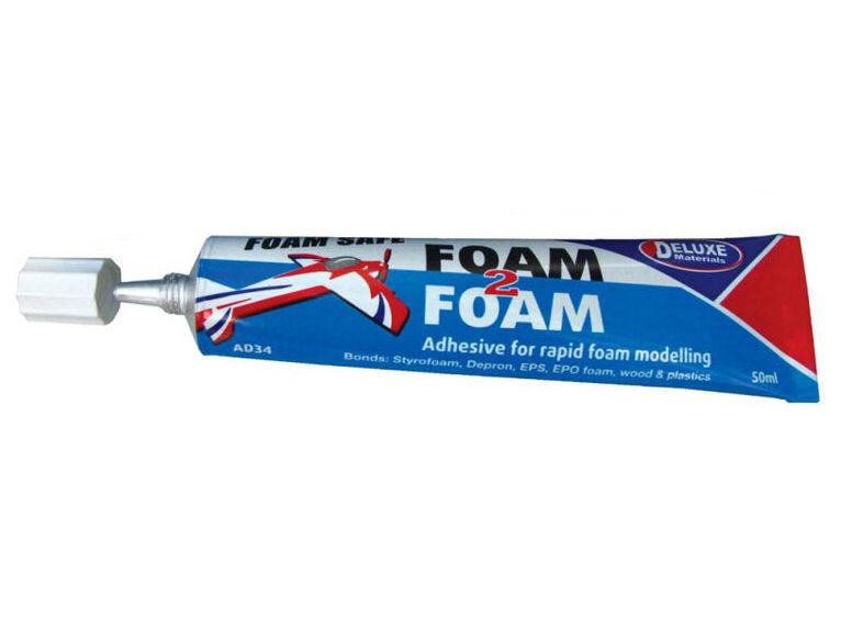 Deluxe AD34 - Foam 2 Foam, Foam Safe Glue, 50ml: EPO, EPS, Wood