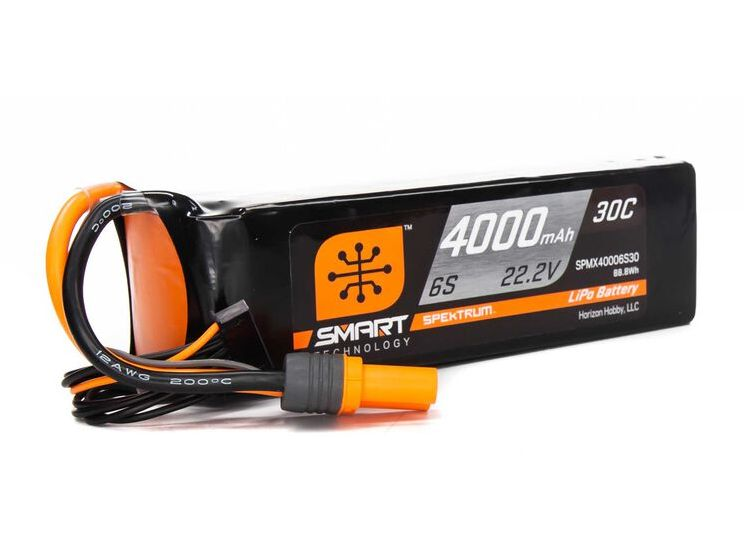 Spektrum SPMX40006S30 - 22.2V 4000mAh 6S 30C Smart LiPo Battery, IC5
