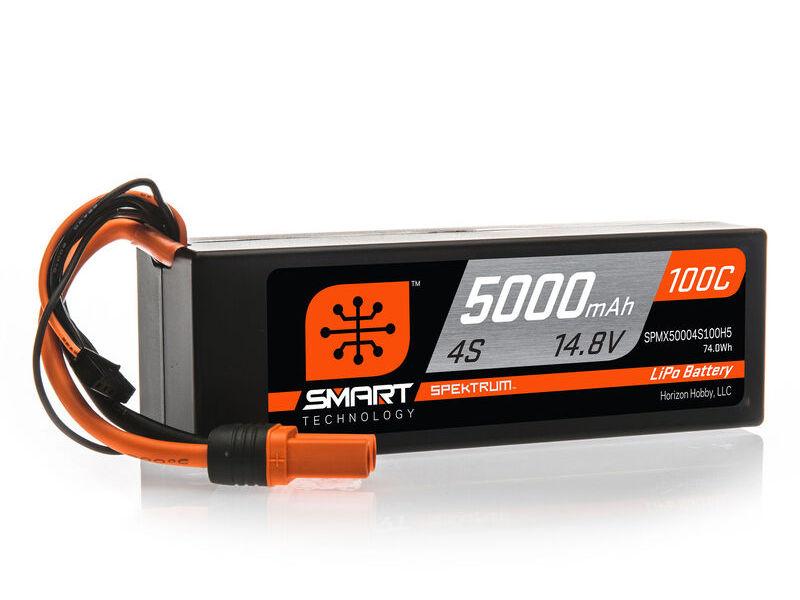 Spektrum SPMX50004S100H5 - 14.8V 5000mAh 4S 100C Smart Hardcase LiPo Battery: IC5
