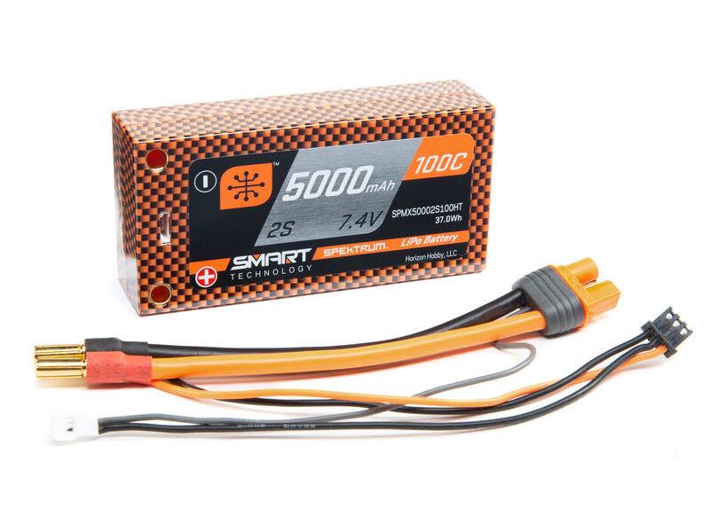 Spektrum SPMX50002S100HT - 7.4V 5000mAh 2S 50C Smart Race Shorty Hardcase LiPo Battery: Tubes, 5mm