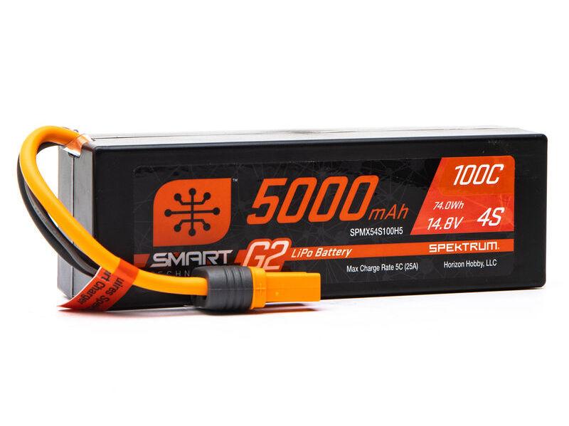 Spektrum SPM54S100H5 - 14.8V 5000mAh 4S 100C Smart G2 Hardcase LiPo Battery: IC5